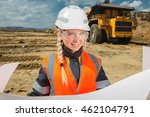 female worker at an open pit | Shutterstock . vector #462104791