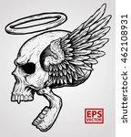 horror winged head skull | Shutterstock .eps vector #462108931