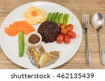 rice berry serve with grilled...   Shutterstock . vector #462135439