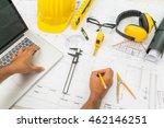 hand over construction plans... | Shutterstock . vector #462146251