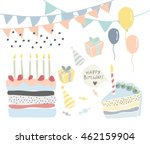 set of celebration retro... | Shutterstock .eps vector #462159904