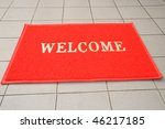 Red Welcome Mat - stock photo