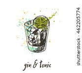 Gin And Tonic Cocktail On The...