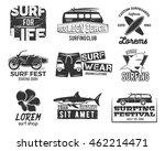 set of vintage surfing graphics ... | Shutterstock . vector #462214471