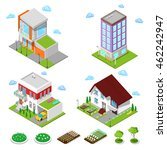 isometric city buildings set.... | Shutterstock .eps vector #462242947