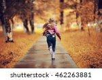 Girl 6 7 Runs In The Autumn Park