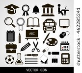 black vector icons set of... | Shutterstock .eps vector #462285241
