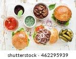 homemade beef burgers with... | Shutterstock . vector #462295939