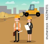architect holding a project.... | Shutterstock .eps vector #462296551