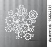 cogs. paper cut gears on grey... | Shutterstock .eps vector #462313954