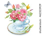 a bouquet of flowers in a cup... | Shutterstock . vector #462323929