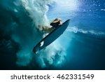Beautiful Surfer Diving...