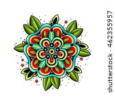 old school tattoo art flowers... | Shutterstock . vector #462355957