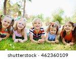 happy children resting together ... | Shutterstock . vector #462360109