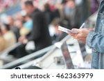 somebody write in his noticebook | Shutterstock . vector #462363979
