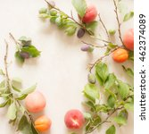 Branch With Plums Peaches And...