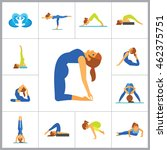 yoga icon set | Shutterstock .eps vector #462375751