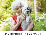 Stock photo beautiful senior woman with her dog in a blooming summer garden 462379774