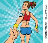 follow me  young woman running... | Shutterstock .eps vector #462396961