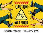 caution wet floor  the feet of...