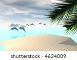 3d Render Of Dolphins