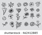 set of flower doodles. hand... | Shutterstock .eps vector #462412885