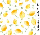 watercolor lemon background.... | Shutterstock . vector #462429127