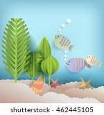 summer background with fish and ... | Shutterstock .eps vector #462445105