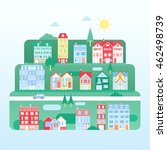 modern flat town and buildings... | Shutterstock .eps vector #462498739