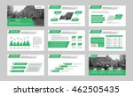 set of green infographic...