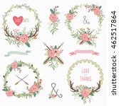 tribal floral wreath collection | Shutterstock .eps vector #462517864