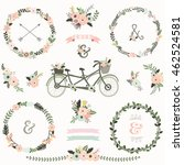 vintage floral bicycles elements | Shutterstock .eps vector #462524581