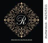 elegant floral golden monogram... | Shutterstock .eps vector #462525211