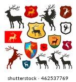 shield with deer  reindeer ... | Shutterstock .eps vector #462537769