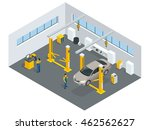 auto mechanic service isometric ... | Shutterstock . vector #462562627