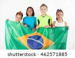 group of children holding a... | Shutterstock . vector #462571885