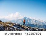 sports guy in the orange jacket ...   Shutterstock . vector #462607801