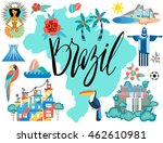vector illustration with brazil ... | Shutterstock .eps vector #462610981
