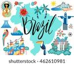 vector illustration with brazil ... | Shutterstock .eps vector #462610981
