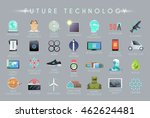 future vector flat icons set.... | Shutterstock .eps vector #462624481