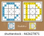 sudoku vector set with answers. ... | Shutterstock .eps vector #462627871