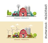 farming background with barn ... | Shutterstock .eps vector #462635665