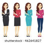 smiling cute woman in different ... | Shutterstock .eps vector #462641827