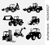 set of loaders and tractors for ... | Shutterstock .eps vector #462643027