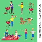vector character set  people on ... | Shutterstock .eps vector #462655465