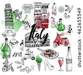 italy. vector hand drawn set | Shutterstock .eps vector #462655549
