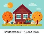 autumn garden with house ... | Shutterstock .eps vector #462657031