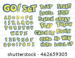 Alphabet, numbers, and phrases in pokemon go cartoon style on white. Typography element template for banners and game assets.  - stock vector