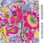 fantasy ethnic ornamental... | Shutterstock .eps vector #462664585