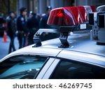 Police Car Lights Close Up. A...